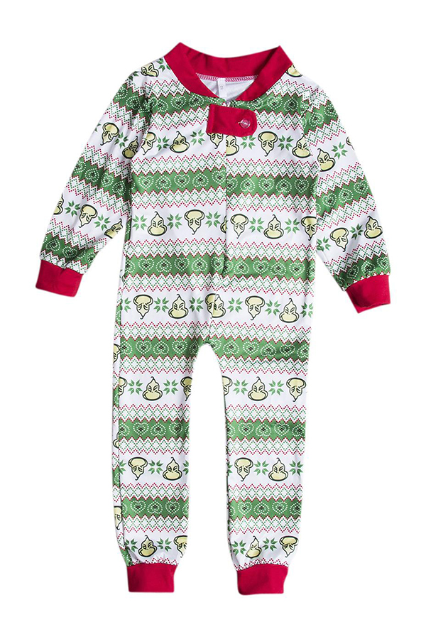 Lovely Family Printed Green Boys One-piece Jumpsuit