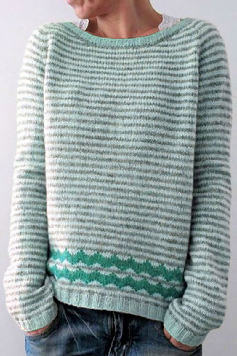 Lovely Striped Green Sweater