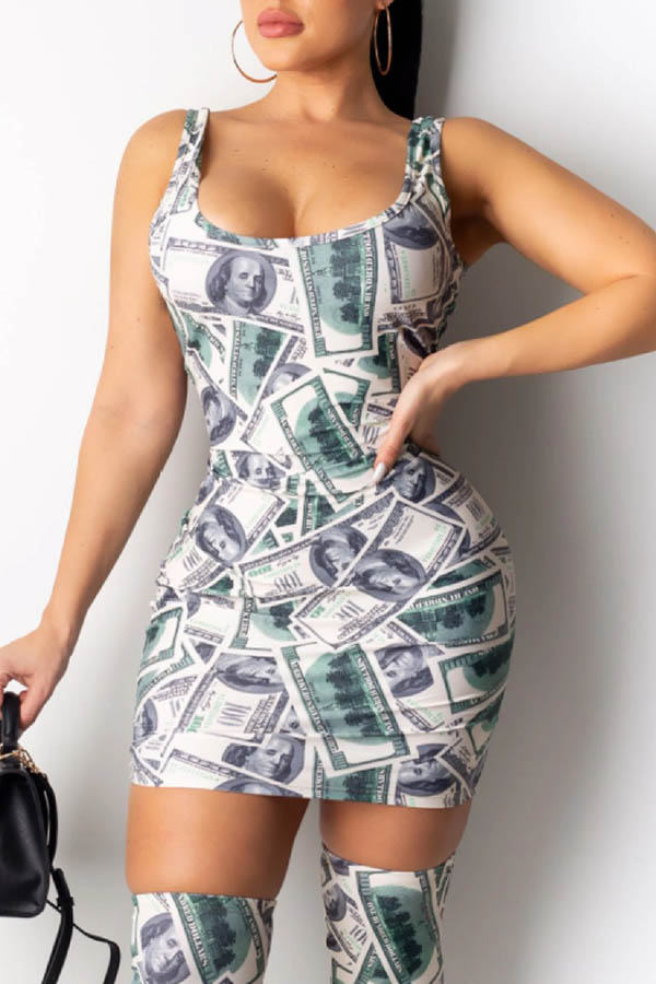 Lovely Trendy Printed Green Mini Dress(With Stockings)
