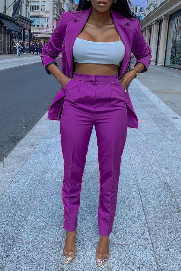 Lovely Trendy Turndown Collar Purple Two-piece Pants Set