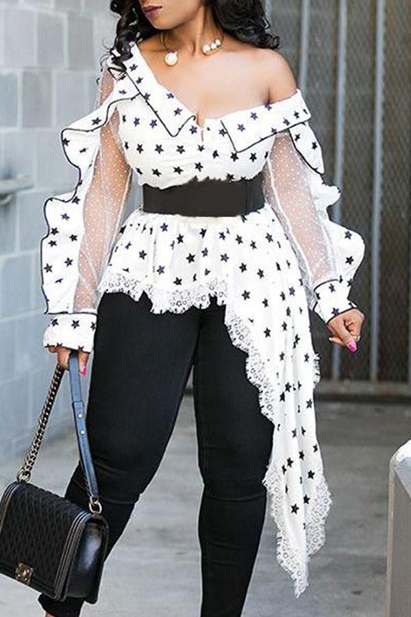 Lovely Casual V Neck Dot Printed White Plus Size Blouse