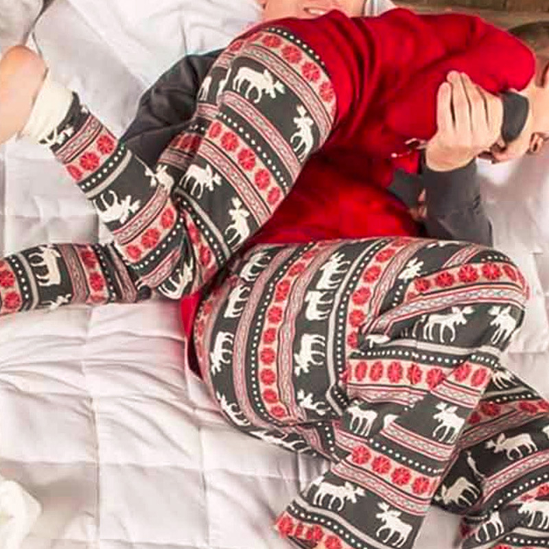 Lovely Family Printed Red Father Two-piece Pants Set