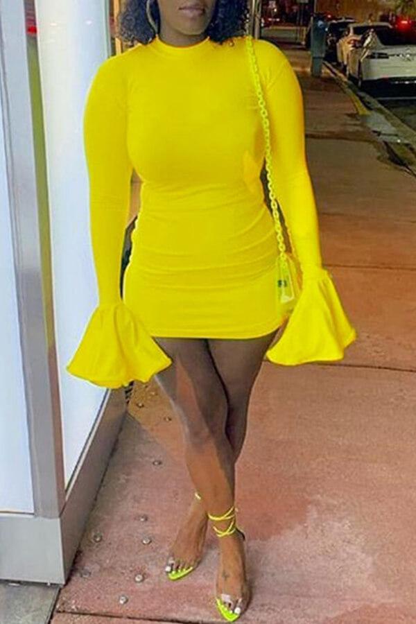 Lovely Trendy Half A Turtleneck Yellow Mini Dress фото