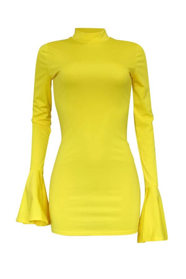 Lovely Trendy Half A Turtleneck Yellow Mini Dress