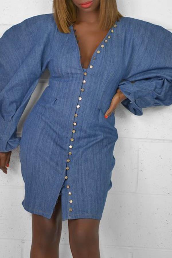 Lovely Street Buttons Design Blue Knee Length Dress