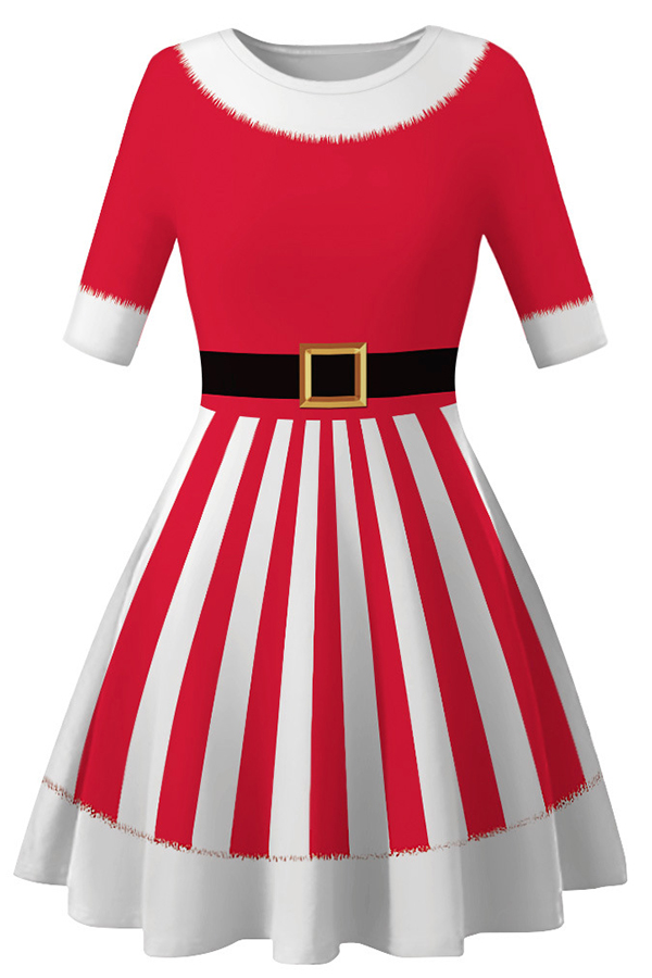 Lovely Christmas Day Striped Printed Red Mini Dress
