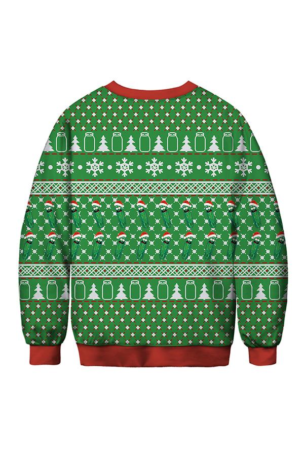 Lovely Christmas Day Printed Green Sweatshirt Hoodie