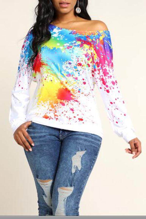 Lovely Leisure Printed White Sweatshirt Hoodie