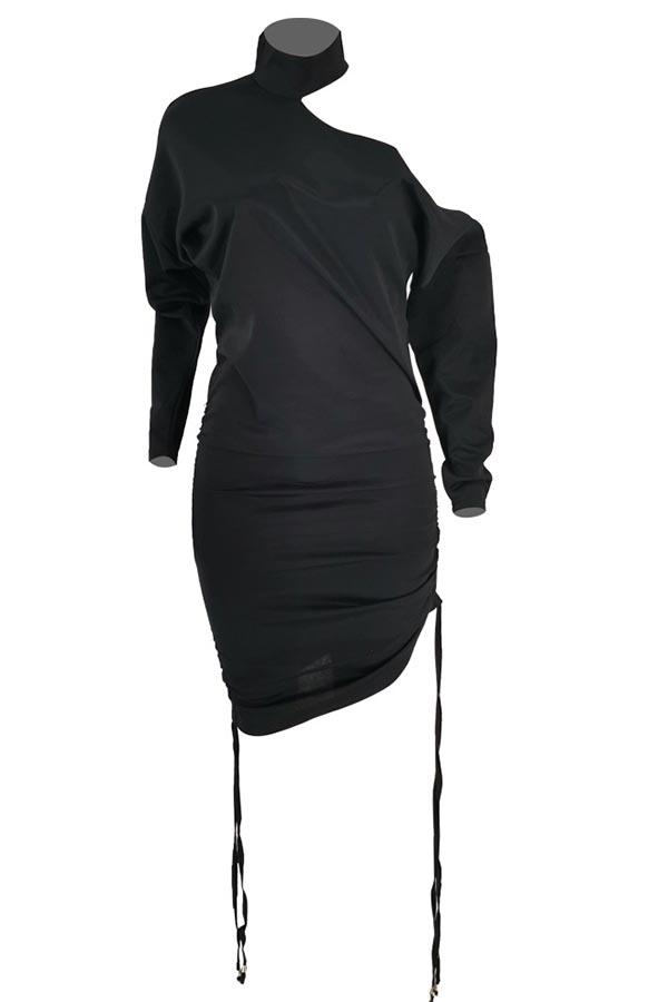 Lovely Casual Turtleneck Black Knee Length Dress