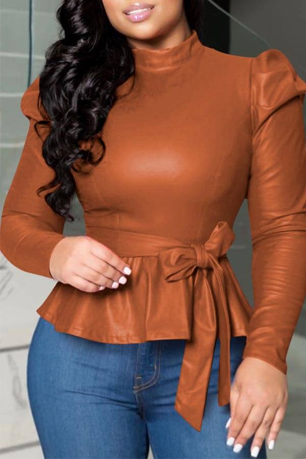 Lovely Trendy Mandarin Collar Lace-up Brown Blouse