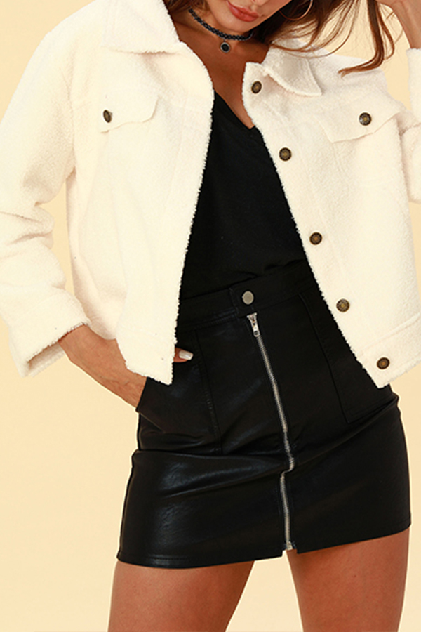 Lovely Chic Buttons Decorative White Blended  Coat