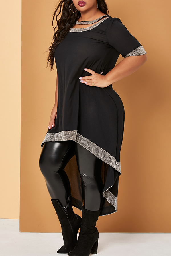 Lovely Casual Basic Black Knee Length Plus Size Dress