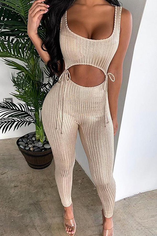 Lovely Sexy Hollow-out Champagne One-piece Jumpsuit