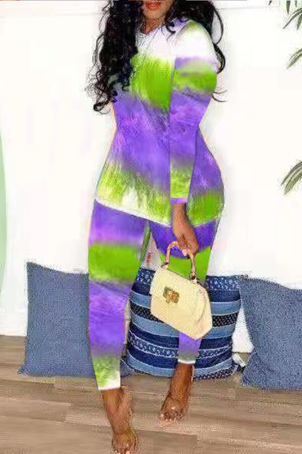 Lovely Casual Printed Purple Two-piece Pants Set