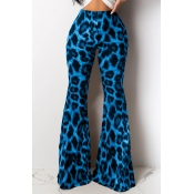 Lovely Chic Leopard Printed Blue Pants