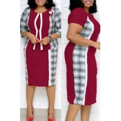 Lovely Casual Patchwork Purplish Red Plus Size Two