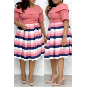 Lovely Casual Striped Pink Knee Length Plus Size D