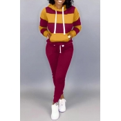 Lovely Casual Hooded Collar Patchwork Wine Red Two-piece Pants Set