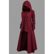 Lovely Casual Asymmetrical Wine Red Plus Size Hood