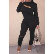 Lovely Trendy Zipper Design Black Two-piece Pants Set