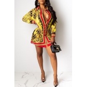 Lovely Casual Printed Gold Mini Shirt Dress(Withou