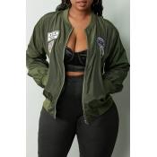 Lovely Trendy Zipper Design Army Green Jacket