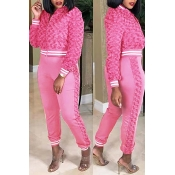 Lovely Casual Winter Patchwork Pink Two-piece Pants Set