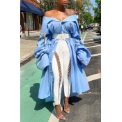 Lovely Trendy Asymmetrical Baby Blue Blouse(Withou