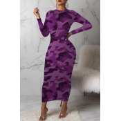 Lovely Casual Camouflage Printed Purple Mid Calf D