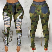 Lovely Casual Broken Holes Camouflage Printed Jean