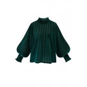 Lovely Stylish Mandarin Collar Striped Green Blous