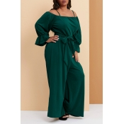 Lovely Trendy Loose Green Plus Size One-piece Jump