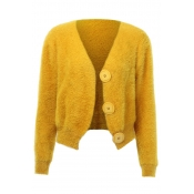 Lovely Trendy Buttons Design Yellow Cardigan