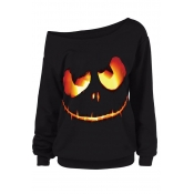 Lovely Halloween Casual Printed Black Sweatshirt H