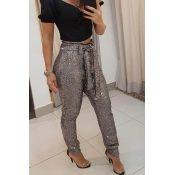 Lovely Chic Sequined Lace-up Silver Pants