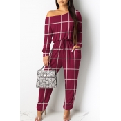 Lovely Casual Grid Printed Red One-piece Jumpsuit