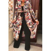 Lovely Casual Printed Long Multicolor Coat(With Be