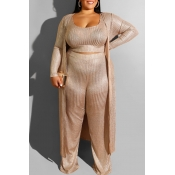 Lovely Casual Loose Gold Plus Size Three-piece Pan