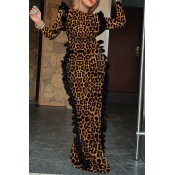 Lovely Trendy Leopard Printed Floor Length Sheath Dress