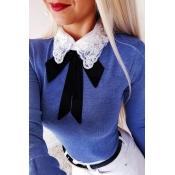 Lovely Sweet Turndown Collar Blue T-shirt