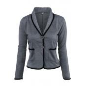 Lovely Work Buttons Short Dark Grey Coat