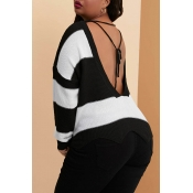 Lovely Casual Striped Hollow-out Plus Size Sweater