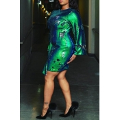 Lovely Casual Loose Multicolor Plus Size Mini Dress