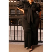 Lovely Casual Lace-up Black Plus Size One-piece Ju
