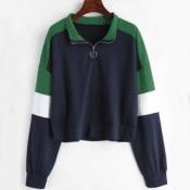 Lovely Casual Patchwork Dark Blue Sweatshirt Hoodi