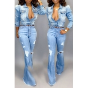 Lovely Casual Short Buttons Design Blue Coat