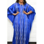 Lovely Casual Loose Baby Blue Floor Length Plus Si