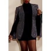 Lovely Trendy Patchwork Black Coat
