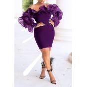 Lovely Trendy Off The Shoulder Flounce Design Purple Mini Dress