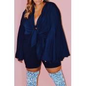 Lovely Casual Ruffle Design Dark Blue Plus Size Bl